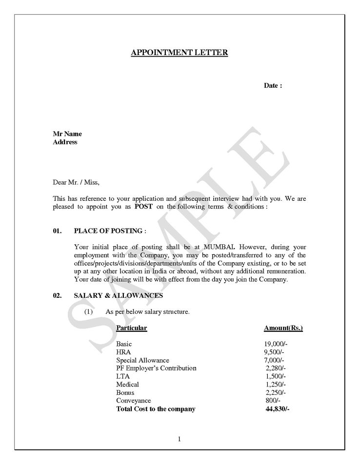 seeking appointment letter sample template format management - appointment letters in doc