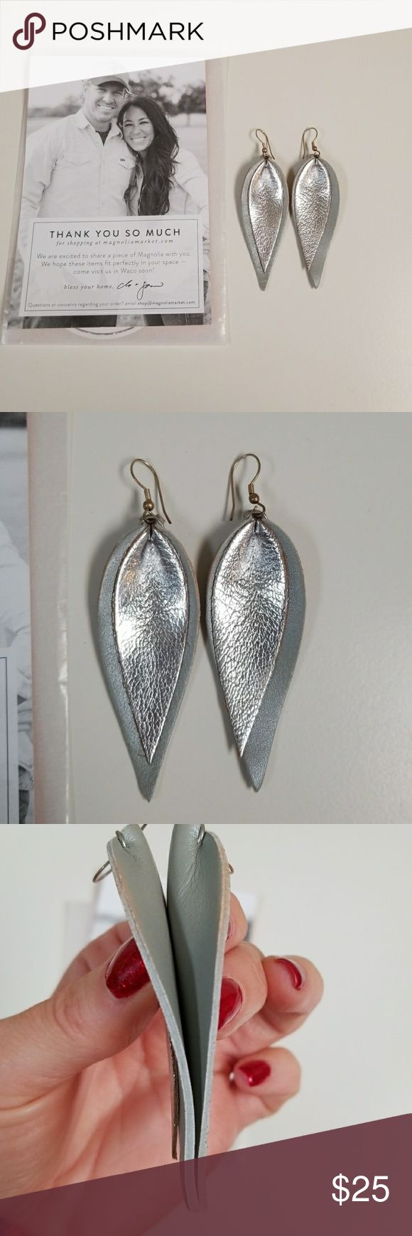 Raven and Lilly Joanna Gaines leather earrings Purchased from Joanna Gaines Magnolia Market. Silver and grey leather. Worn a few times. Has some make up on sides (see photos). Price is firm on these  unless you are bundling with other items. Raven + Lily Jewelry Earrings