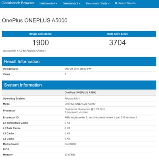 Tech News India: OnePlus 5 younger brother spotted on GeekBench.