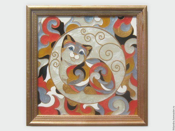 Купить Котёнок в стиле De rosa rinconada Витражная роспись по стеклу - эксклюзивный подарок