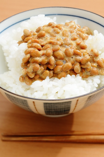 """Natto - Natto, with its very distinct smell and flavor, is derived from fermented soy bean and is often referred to as """"meat from the field,"""" a vitamin-and fiber-rich antioxidant powerhouse containing plant chemicals called isoflavones considered to be the first line of defense against a host of chronic and degenerative diseases."""