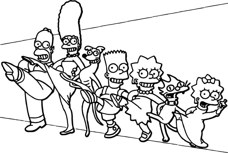 Nice Dance The Simpsons Family Coloring Page Family Coloring Pages Bee Coloring Pages Family Coloring