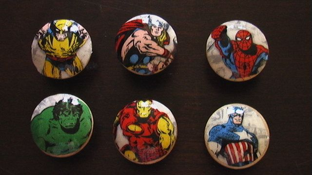 Handmade Knobs Drawer Pull Set of 6 Marvel Avengers Set Wolverine Spiderman Iron Man Hulk Captain America Thor Dresser Knob Pulls