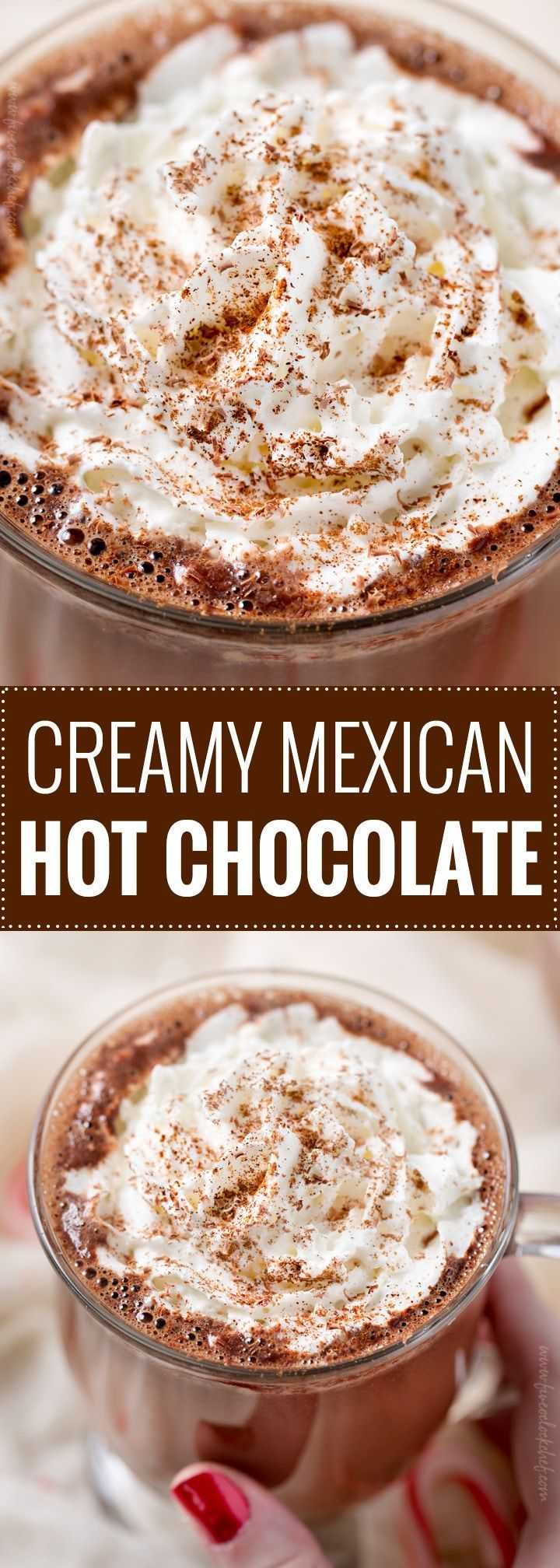 Ultra Creamy Mexican Hot Chocolate | Rich and creamy, Mexican hot chocolate will warm you up from the inside out! Made with melted chocolate, vanilla, cinnamon and a pinch of cayenne for kick, this recipe is easy to spike for an adult beverage treat! | The 5 o'clock Chef | #hotchocolate #mexicanhotchocolate #holidaydrink #hotchocolaterecipe