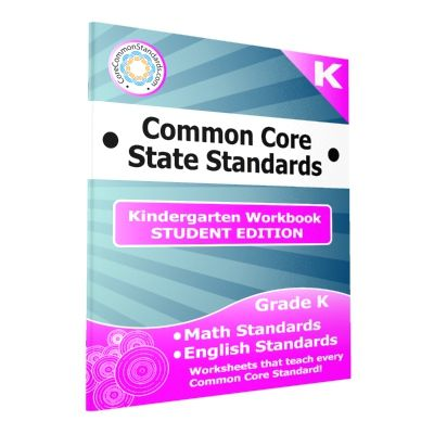 Kindergarten Common Core Workbook - Student Edition. This product includes a class set of 25 Paperback Kindergarten Common Core Workbooks with worksheets for all English and Math Common Core Standards.