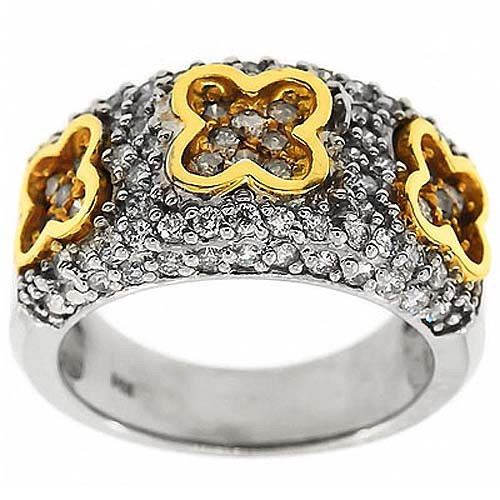 1.00 Cttw Round Diamonds 3 Flower Cocktail Evening Band Ring 14K Two Tone Gold #Cocktail #Diamonds #3Flower #Ring #band #14K #TwoTone #Gold #Holiday #Sale #Gift