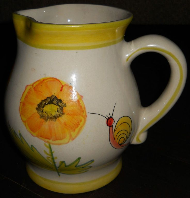 Vintage Ceramic Pitcher~Retro~Snail Flowers Bug~Jay Willfred & A. Sadek~Portugal   Collectibles, Decorative Collectibles, Pitchers   eBay!