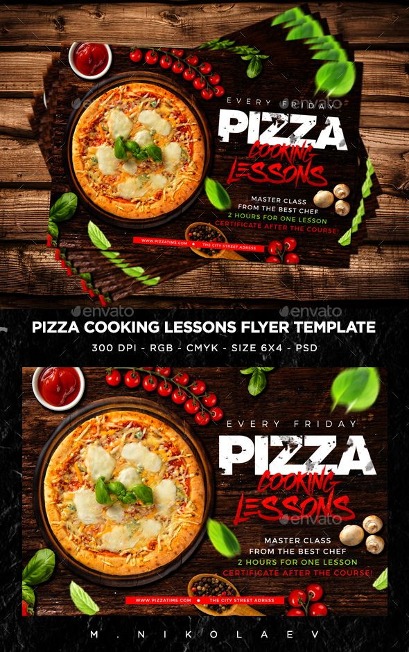 Pizza Cooking Lessons Flyer Template PSD. Download here: https://graphicriver.net/item/pizza-cooking-lessons-flyer/17311124?ref=ksioks