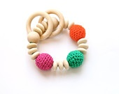 Teething toy with crochet wooden beads and 2 wooden rings. Nursing bracelet.