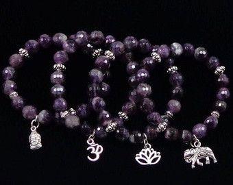 Faceted Amethyst Bracelet / Yoga Bracelet /February Birthstone/ Lotus  / Elephant Bracelet/ Om Bracelet/ Yoga Mala Bracelet/ Buddha Bracelet
