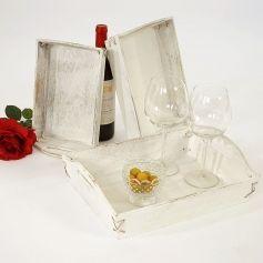 3er Set Tablett T296, Serviertablett Holztablett Dekotablett, Shabby-Look Vintage weiß