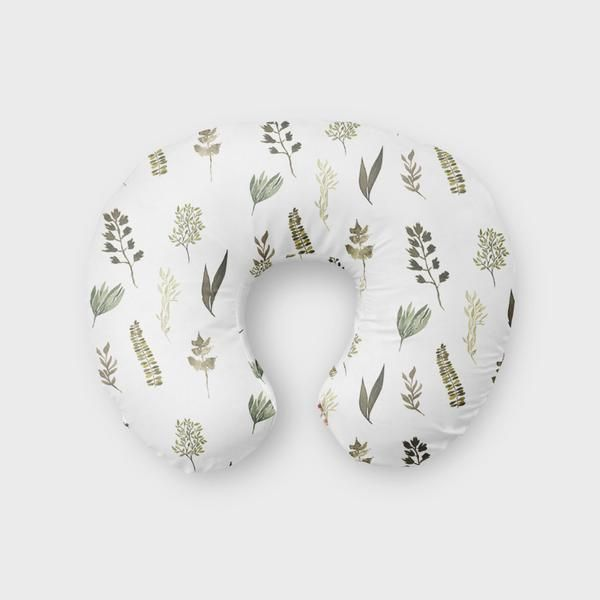 Wild Flower and Leeaves Boppy Cover - Nursing Pillow Cover Feather Woodland Boho Tribal for Boppy Pillow, Breastfeeding Pillow Slipcover