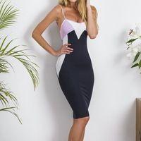 2016 летние женщины спагетти ремень Bodycon клубные женский спинки рукавов лоскутная карандаш пакет бедра платья Vestidos