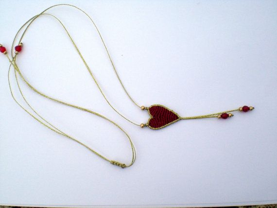 Macrame necklace. Heart necklace. Heart for Valentines by asmina