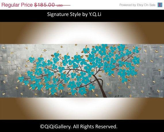 Flores en turquesa arte pinterest paisajes - Pintura azul turquesa ...