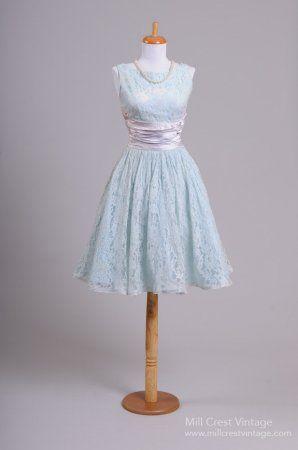 1950 Aqua Vintage Cocktail Party Dress