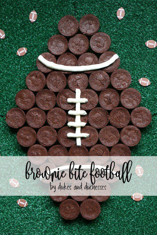 Feed hungry fans on game day with this simple brownie bite football! Made with storebought brownie bites and storebought icing, this sweet treat is easy!