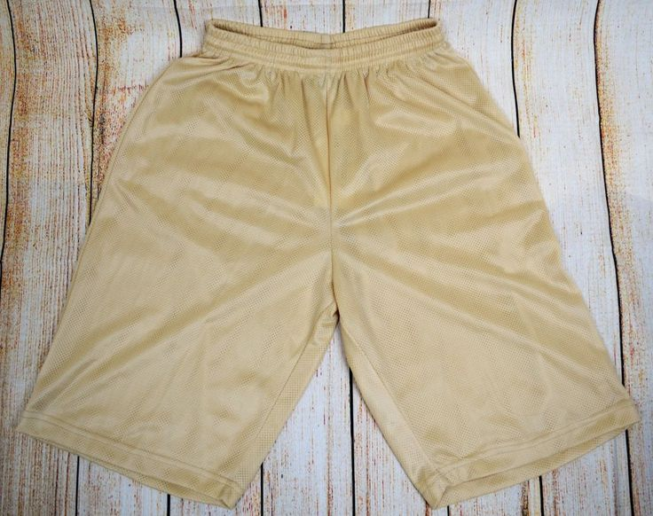 Mens Mesh Shorts Fitness Athletic Gym Workout Pants Large L Beige Basketball New #QBSport #MeshShorts