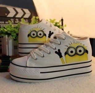 mulheres minion botas sapatos tênis cartoon desprezíveis 2 me minion sapatos pintados à mão casual sapatos