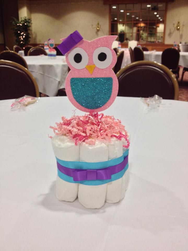 Owl Baby Shower Mini Diaper Cake