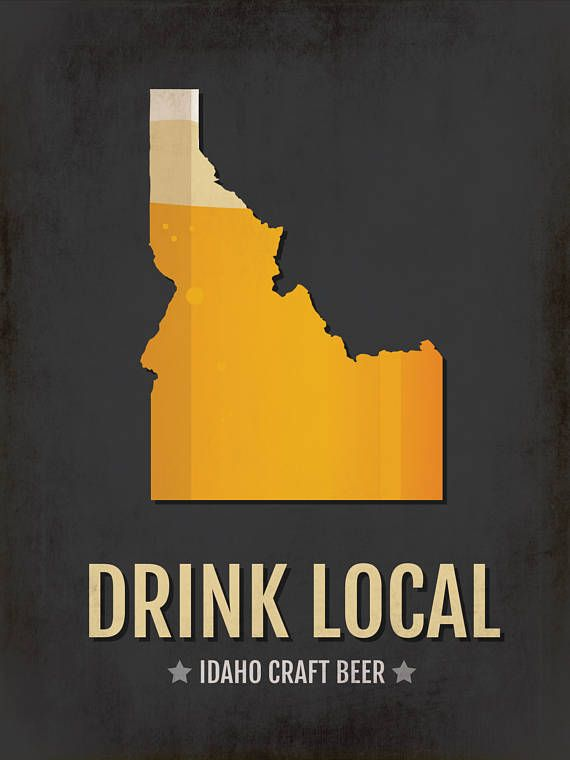 Idaho Beer Print Map – ID Drink Local Craft Beer Sign – Boyfriend Gift, Husband Gifts for Him, Beer Gift, Boise, Couer d'Alene, Idaho Falls