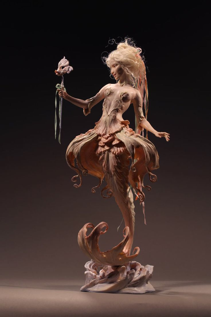 "Fish from Versailles, Mermaid. She'd stand about 9"" tall as a person with legs. Kato Polyclay, by Forest Rogers"
