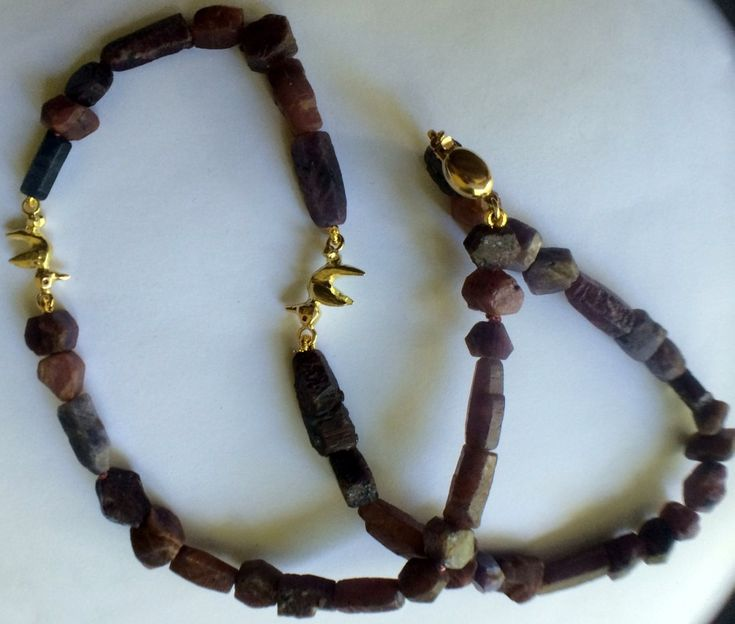 Gold, ruby necklace with two little birds by kochiokada on Etsy