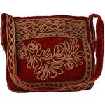 Vintage Handcrafted, Made in India 70's Purse - 70s -Handcrafted, Made in India- Womens red rayon velvet with gold metallic braid leaves and pattern passementerie trim, lined in red acetate taffeta, hobo-style hippie purse or handbag has zippered top and