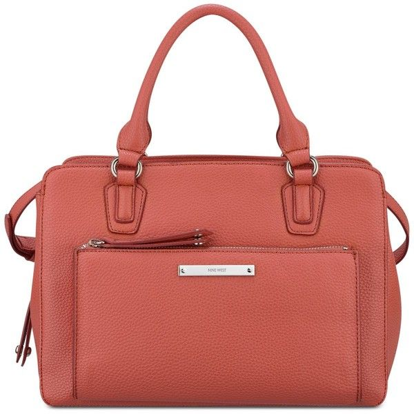 Nine West Zip N' Go Satchel (€54) ❤ liked on Polyvore featuring bags, handbags, indian coral, red purse, structured satchel handbag, red satchel handbags, structured satchel and coral handbag