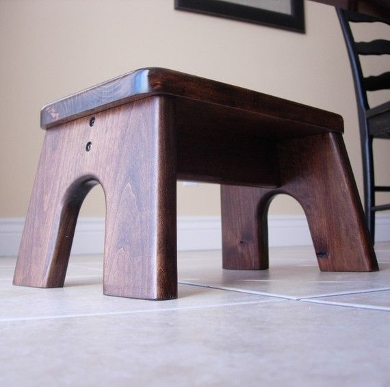 Step Stool, Wooden, Wood, Alder, Stained, Dark, Walnut, Kids Tip-Resistant, Stepstools by LaffyDaffy on Etsy via Etsy 64
