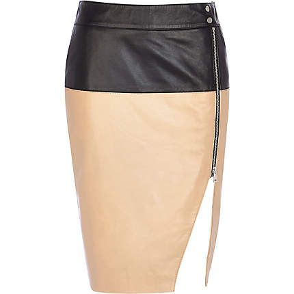 Black two-tone split front leather skirt £95.00