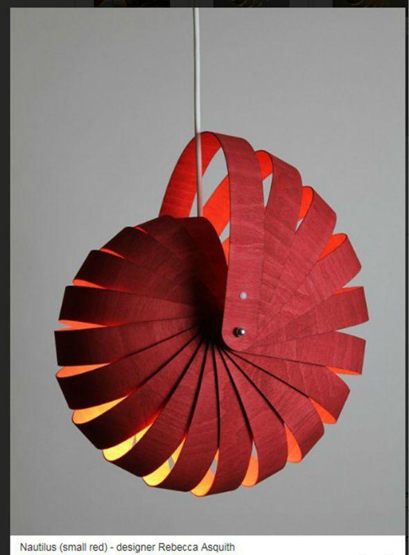 Nautilus – Hanging Lampshade Wood Lamp/wood Lamp -…