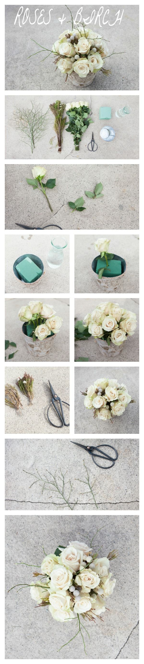 Rose & Birch Centerpiece Step By Step DIY Tutorial