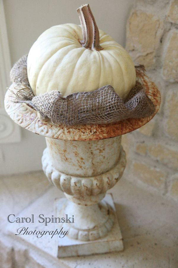 Simple white pumpkin in a rusty urn, from the fabulous Raised In Cotton, Carol Spinski