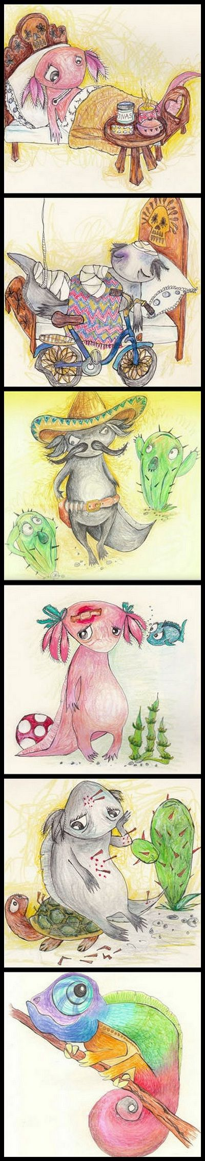 http://soiman.com/ Illustrations by Soimán #axolotl #maxico #cute #animal #cameleon #drawing