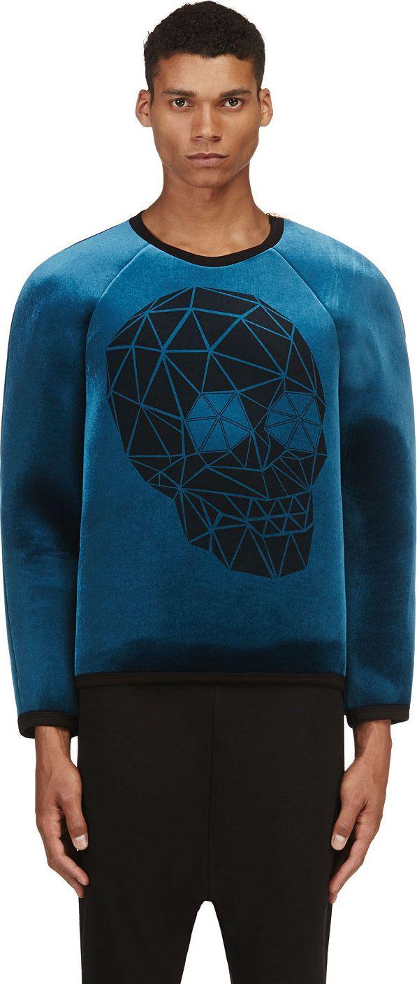 Denis Gagnon: Blue Velvet Skull Pullover - 70% in store