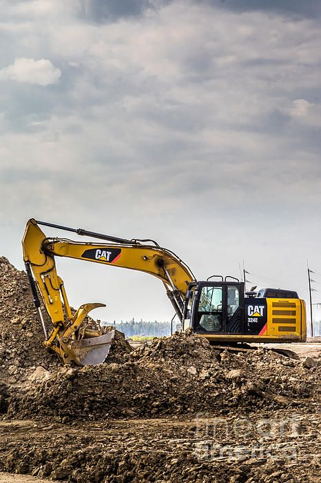 Construction in progress CAT excavator photo prints