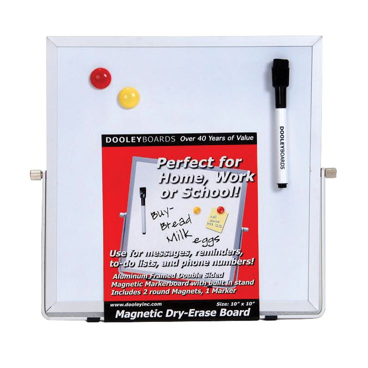 Dooley Boards Double-Sided Dry-Erase Marker Board with Easel Stand, 10 X 10 in, Aluminum Frame
