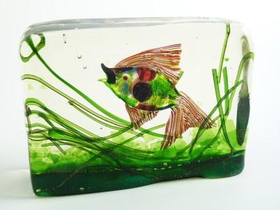CENEDESE Murano Glass - Fish / Aquarium Block des. Ricardo Licatta