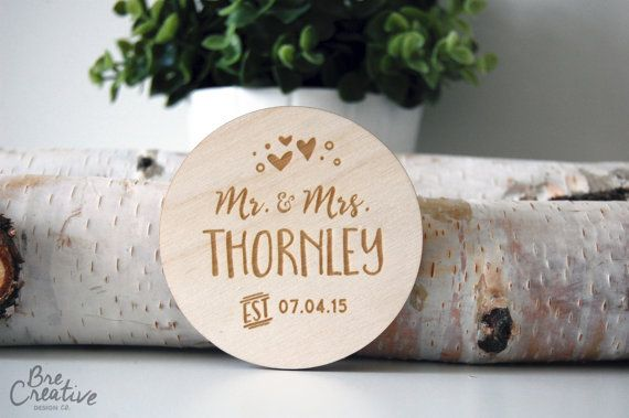 Personalized Wedding Coaster Coaster Circle by PixelsandTimber