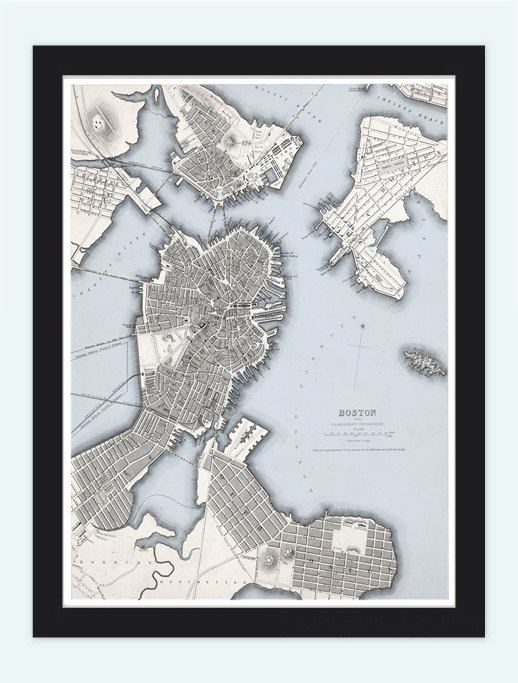 Old Map of Boston United States of America by OldCityPrints, $29.00