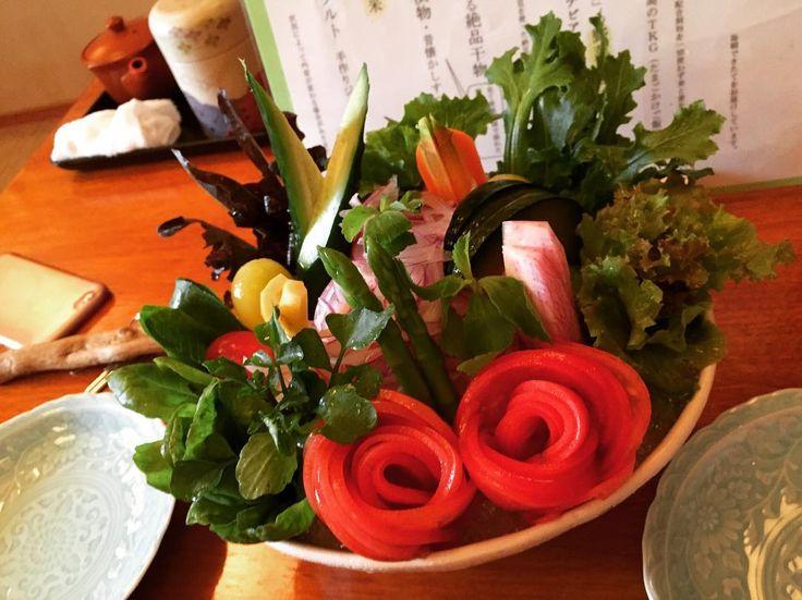 #壱岐島 #長崎 #平山旅館 #朝食 #無農薬野菜 #サラダ #salada  #trip #morning