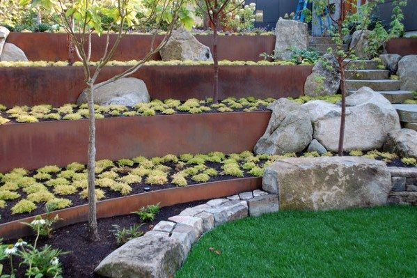 Most Recent No Cost Metal Retaining Walls Ideas Sloped Garden Modern Landscaping Contemporary Garden
