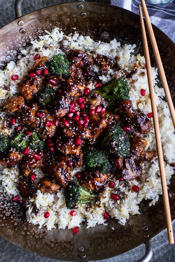 Pomegranate Sesame Chicken with Ginger Rice Pilaf | halfbakedharvest.com @hbharvest