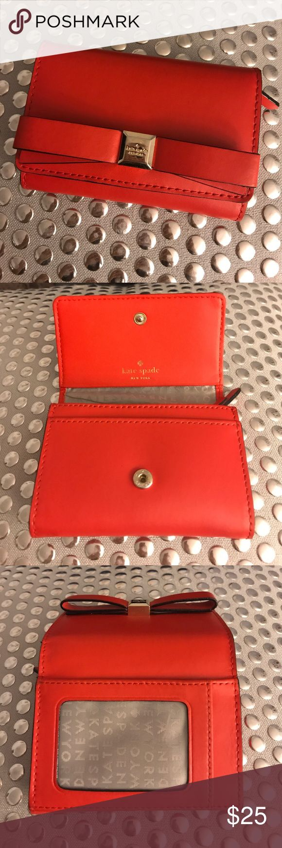 Kate Spade Wallet Small Kate Spade wallet. Perfect size for smaller bag or cross body. Fits a good amount of cards, but at fraction of size of envelope wallet! kate spade Bags Wallets