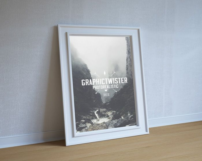 Free Stylish Poster Frame Mockup To Show Case Your Royal Design Or Presentation In Silver Wall With Ultra Photorealistic Effect