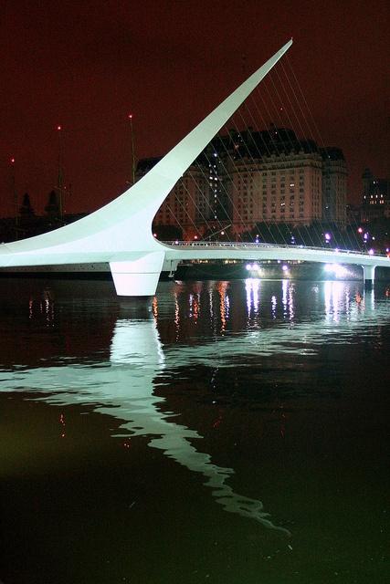 The Puente de la Mujer, designed by Santiago Calatrava, is a footbridge in the Puerto Madero district of Buenos Aires, Argentina.