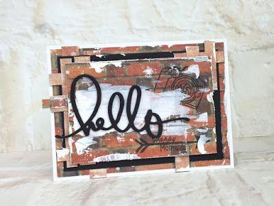 kartka hello z papierów Goscrsp bricks #cardmaking, Scrapbooking, #Card #hello