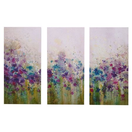 Three-piece watercolor art set on gallery-wrapped canvas.    Product: 3 Piece wall art setConstruction Material: ...