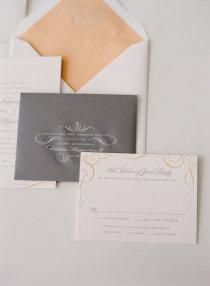 Peach and grey wedding invitation. Yes please!